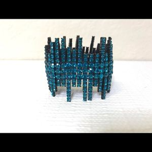 Jewelry - Teal Rhinestone Bracelet with Black Accent setting
